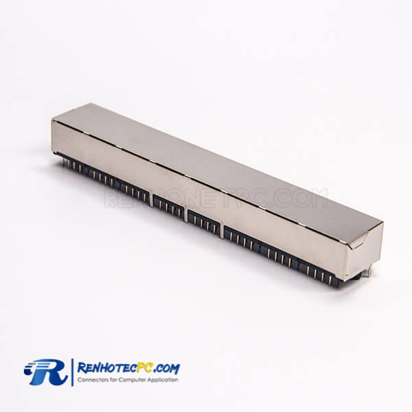 8 Port RJ45 Socket Netword Connector 90 Degree 8p8c Shielded DIP Type PCB Mount