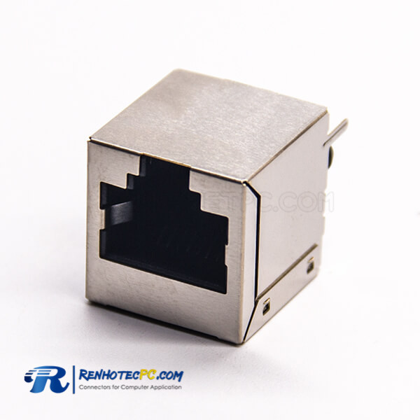 RJ45 Shielded Coupler 180 Degree 1*1 Port Modular Connector DIP Type for PCB Mount