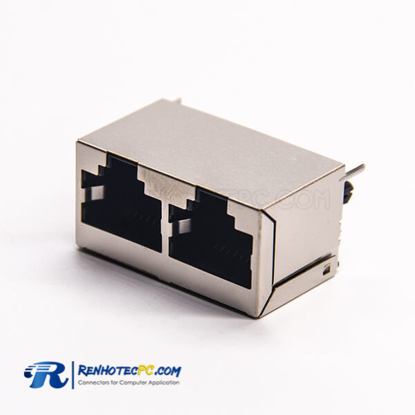 RJ45 Dual Port 1*2 Vertical Shielded Shell Through Hole PCB Mount