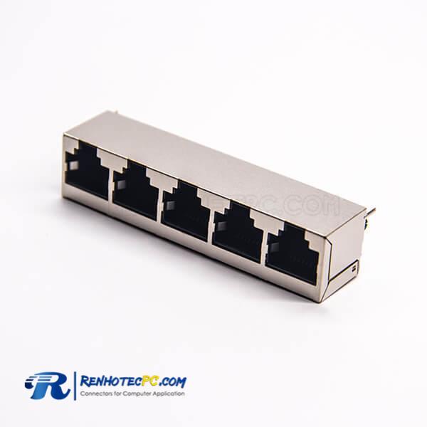RJ45 Multiple 1*5 Port Shielded 180 Degree Jack Modular DIP for PCB Mount
