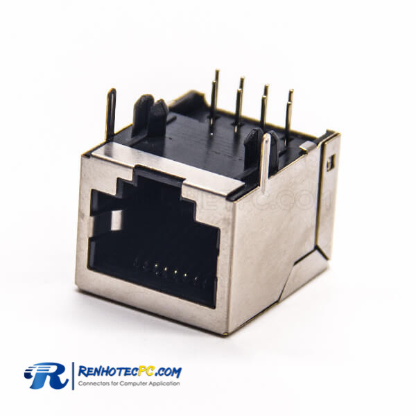 Metal RJ45 Socket DIP Type Right Angled Shielded without LED for PCB Mount