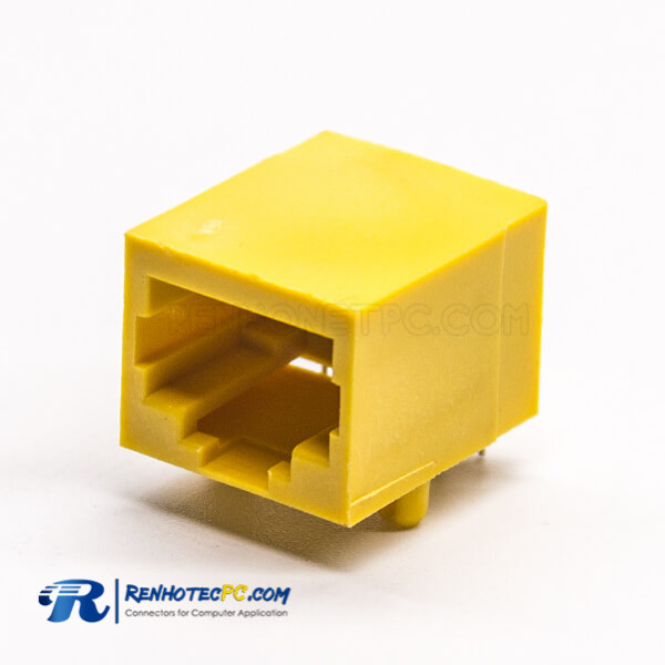 RJ45 Unshielded Connector PCB Mount Yellow Plastic Shell Through Hole
