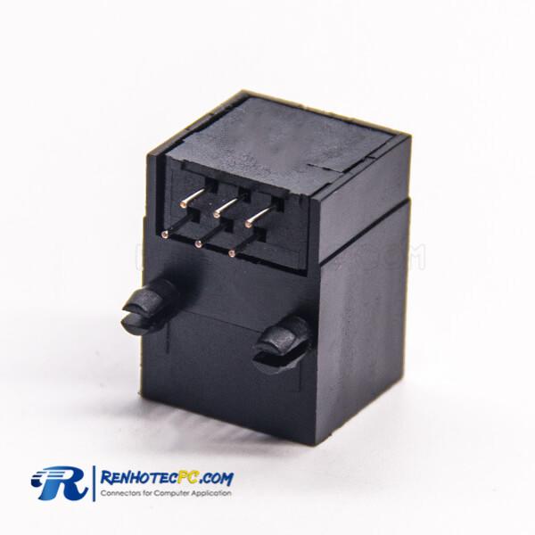 RJ45 to Ethernet Socket PCB Mount DIP Type 90 Degree Black Plastic Unshielded
