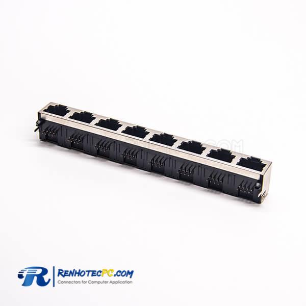 RJ45 Ethernet Socket Angled Coupler DIP Type 8 Port for PCB Mount