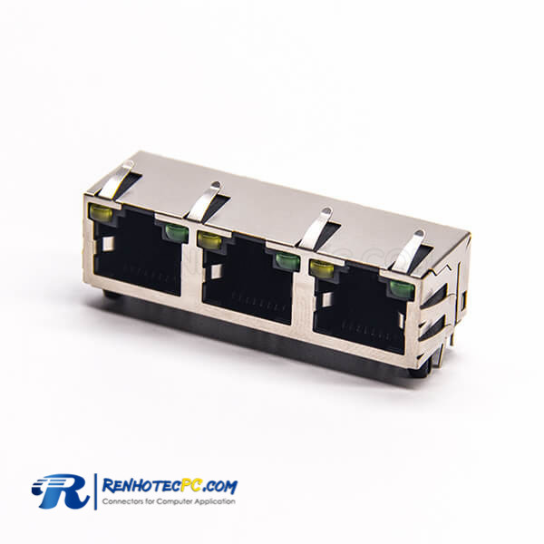 RJ45 Right Angle Connector 8P8C 3 Port Through Hole with LED EMI for PCB Mount