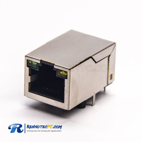 Shielded Right Angle RJ45 PCB Mount 8P8C Through Hole Modular Connector with LED