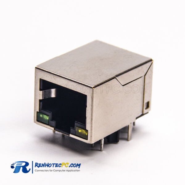 RJ45 LED Connector Right Angled 8P8C Through Hole Shielded with LED Through Hole for PCB Mount
