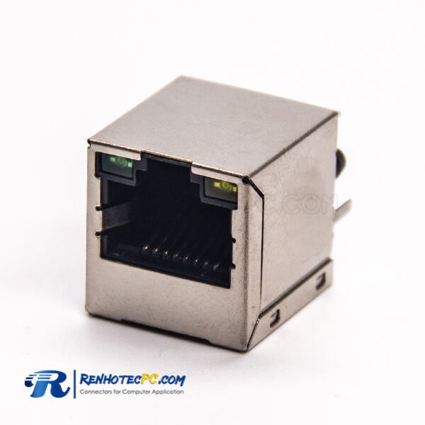 RJ45 Jack with LED Modular Connector 180 Degree Through Hole PCB Mount