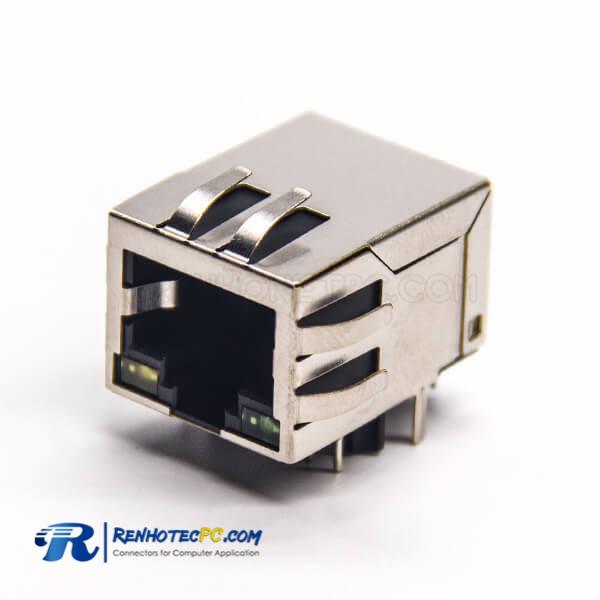 RJ45 8P8C LED DIP Type 90 Degree PCB Mount with EMI Modular Connector