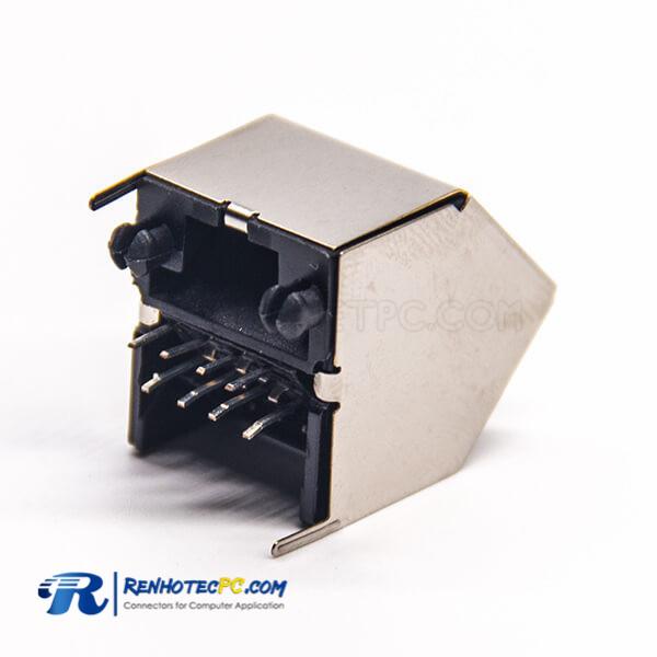 RJ45 Network Socket Shielded Jack 45 Degree 8P8C Through Hole for PCB