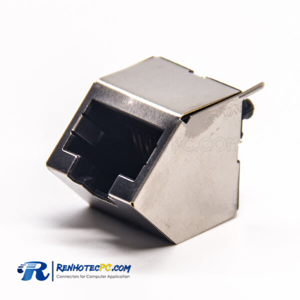 RJ45 Network Socket Shielded Jack 45 Degree 8P8C Through Hole for PCB