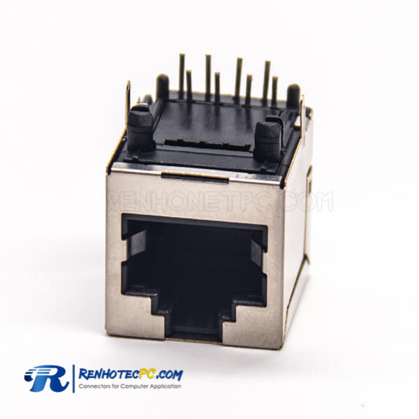 RJ45 Ethernet Socket Shielded Jack 90 Degree Through Hole PCB Mount