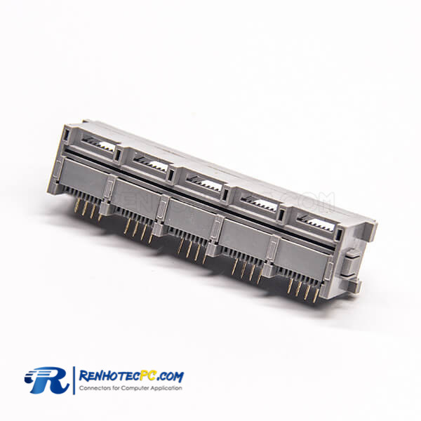 RJ45 Right Angle Coupler Unshielded Jack 1*5 Port Through Hole for PCB Mount