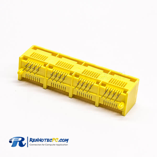 RJ45 Multiport 1*4 8P8C DIP Type PCB Mount 90 Degree Yellow Plastic