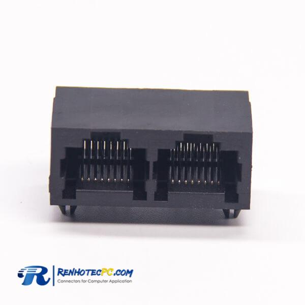 2 Port RJ45 90 Degree DIP Type 8P8C Network Connector Black Plastic
