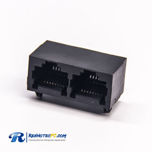 2 Port RJ45 90 Degree DIP Type 8P8C Network Connector Black Plastic