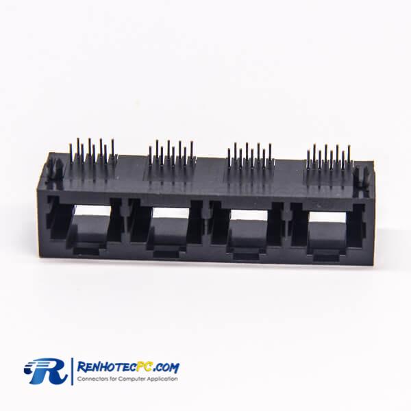 Port RJ45 4 Port Types Unshielded without LED 90 Degree Plastic Black