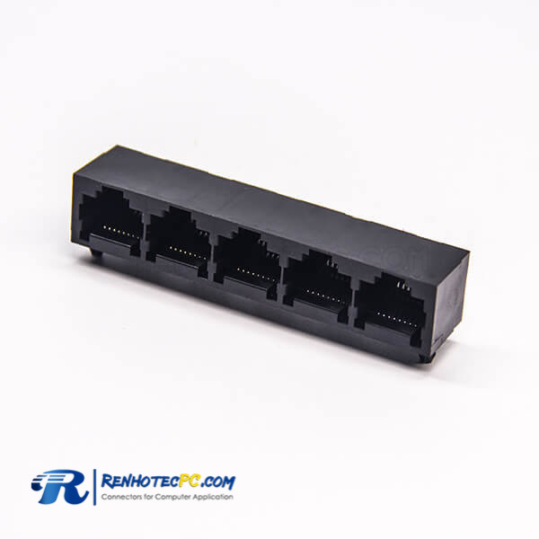 RJ45 5 Port Unshielded Jack Plastic without LED Right Angled 8P8C