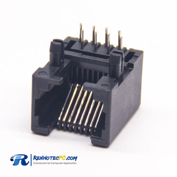 RJ45 Angled Connector PCB Mount Black Plastic Unshielded Jack 8P8C