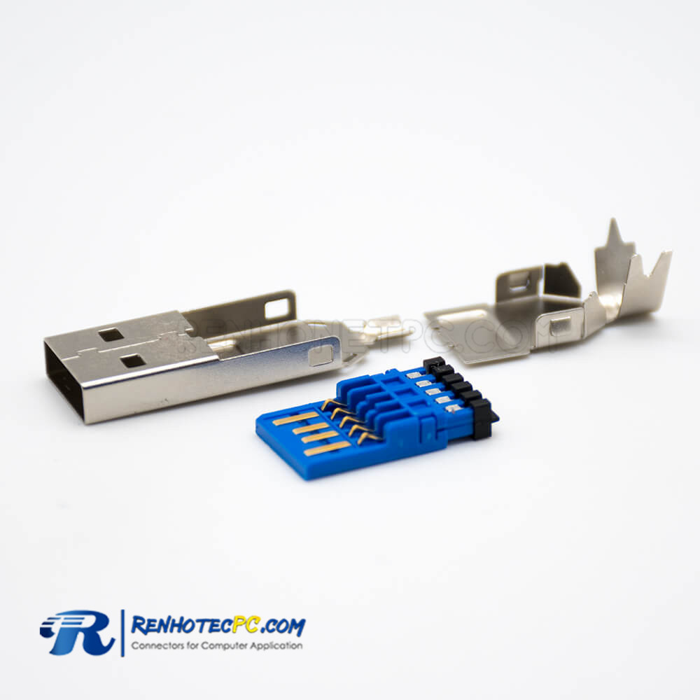 USB Connector Female 3.0 Straight 9 Pin Type A Solder Type for Cable