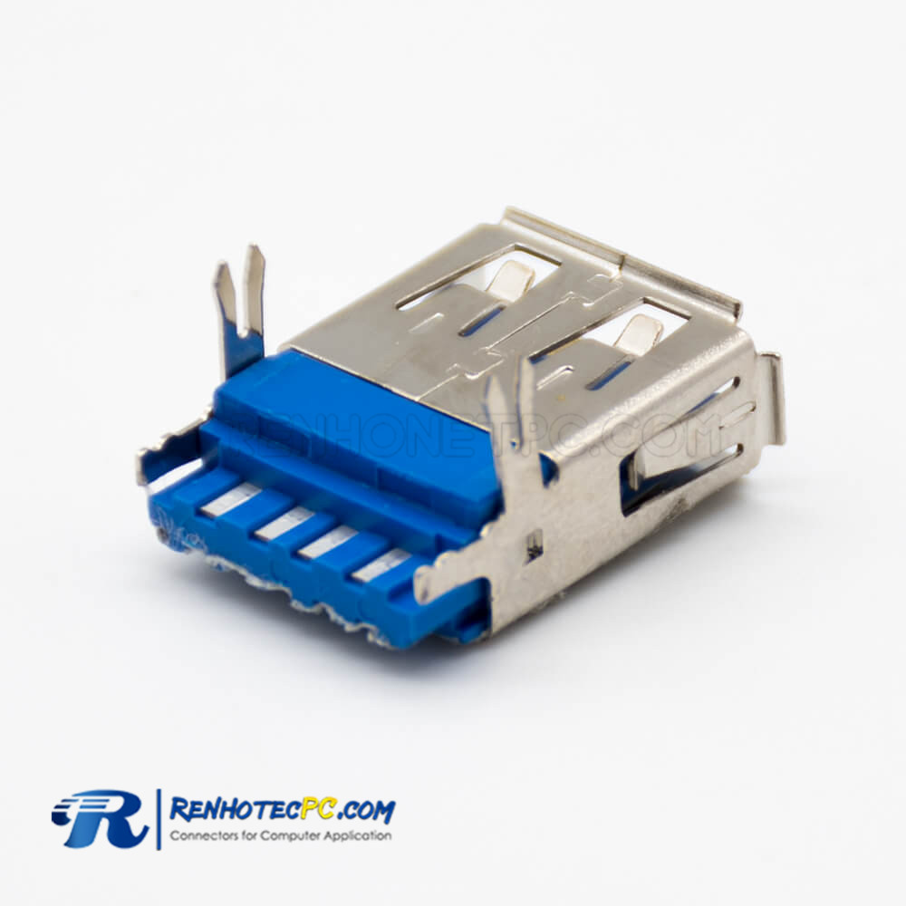 Female USB Connector 3.0 Type A 9 Pin Straight Panel Mount