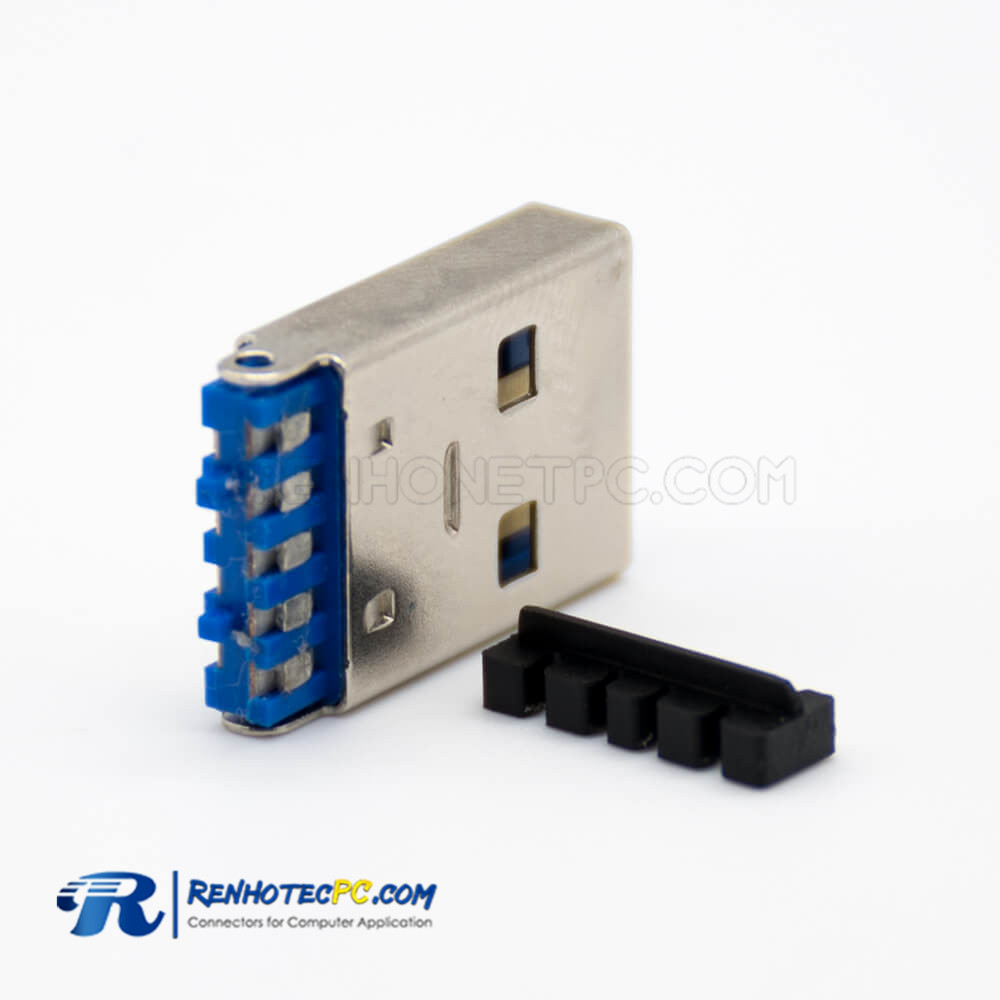 USB A Connector Male Straight 9 Pin Solder Type for Cable