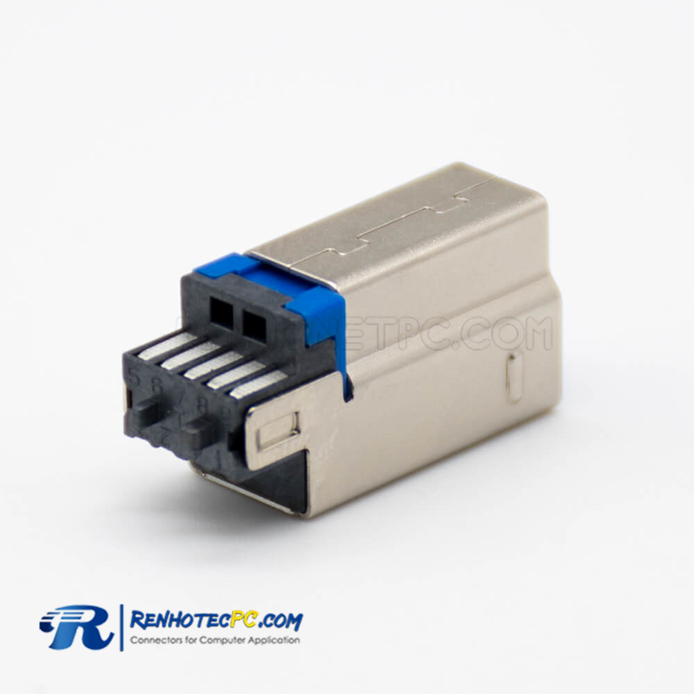 USB Connector B 3.0 Male Straight 9 Pin Solder Type for Cable