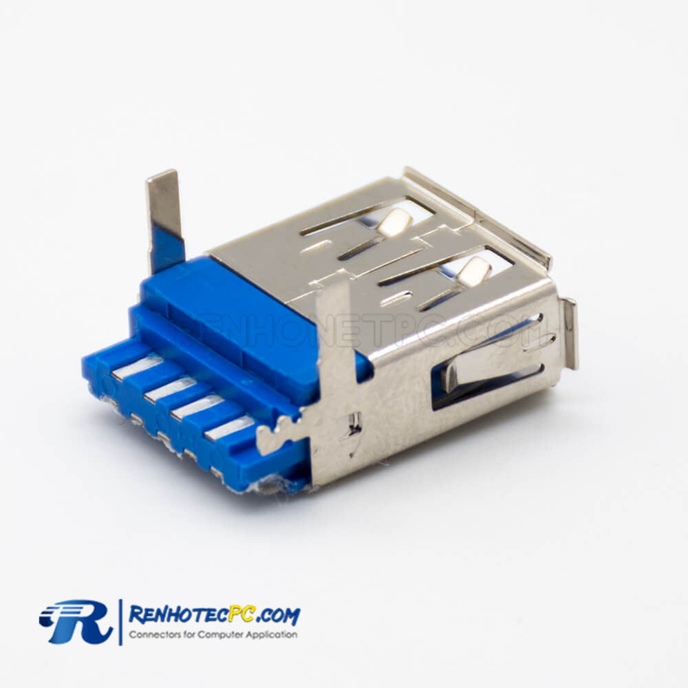 USB 3 type A Connector Female 180 Degree Solder Type for Cable Panel Mount