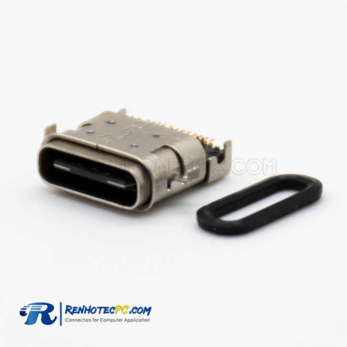 USB Type C Connector 3.1 Offset Type Female DIP SMT Type Straight 24 Pin Waterproof