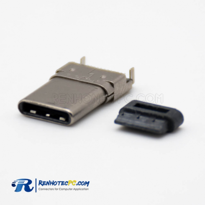 USB Connector Types C 3.1 Offset Type Straight Male 24 Pin SMT Type