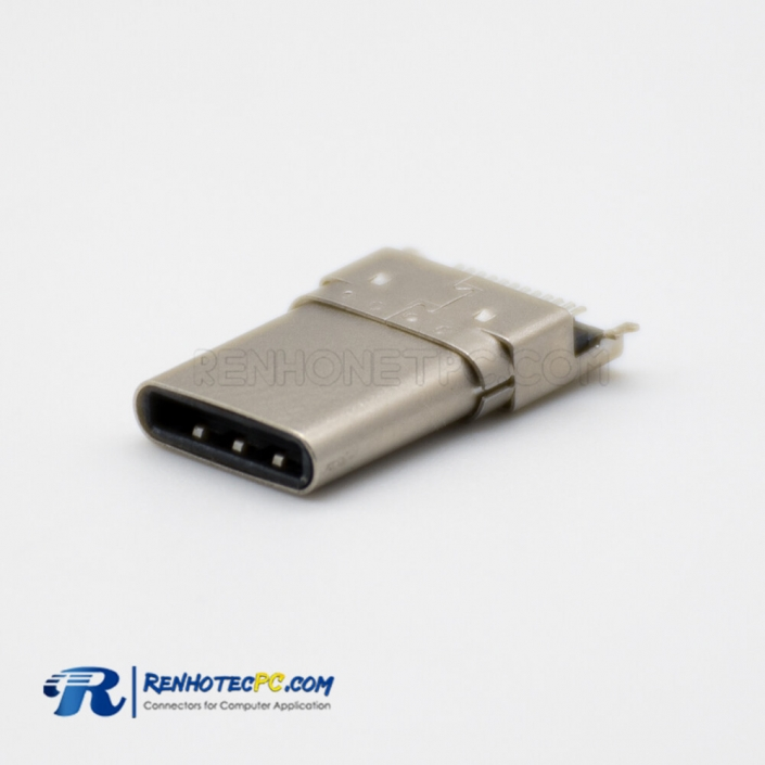 Panel Mount USB 3.1 Type-C Male Connector Offset Type SMT Type Through Hole