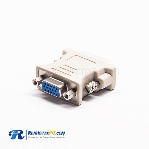 Mini Gender Changer 15 Pin High Density D-Sub 180°Female To DVI Male 24+5 Pin