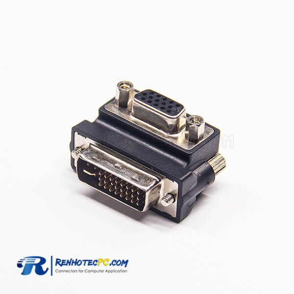DVI To Vga Adapter 24+5Pin Male DVI To High Density D-Sub 15Pin Female Right Angle Adapter