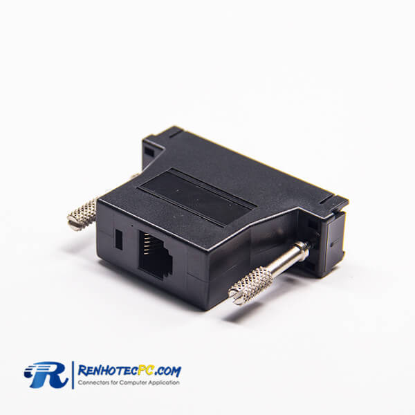 RJ12 To DB Connector RJ12 Female To 25Pin Male Standard D-Sub Straight black Adapter