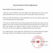 Announcement of Price Adjustment